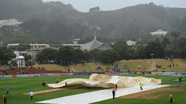 The covers come on at the Basin Reserve with little cricket possible on the fourth day