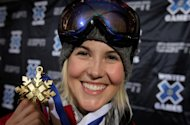 Freestyle ski star Sarah Burke, pictured in 209, died on Thursday from injuries sustained in a superpipe training accident suffered earlier this month, the Canadian Freestyle Ski Association said. (AFP Photo/Doug Pensinger)