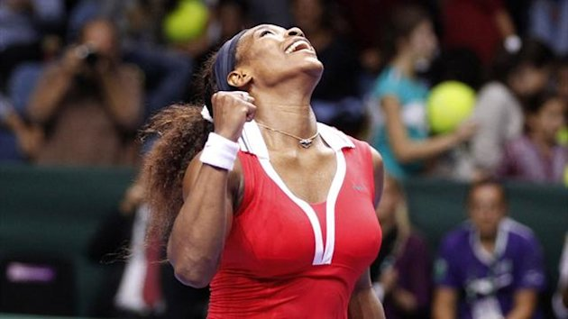 Serena Williams celebrates at the WTA Championships in Istanbul (Reuters)