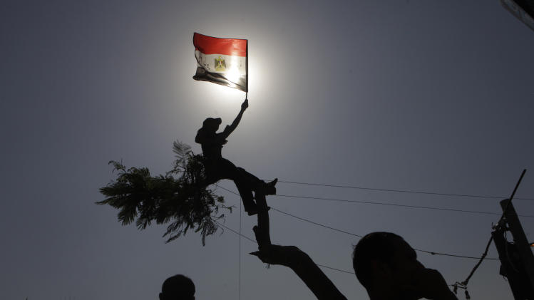 An Egyptian protester waves a national flag over a tree at Tahrir Square, Cairo, Egypt, Friday, June 8, 2012. Hundreds gathered in Cairo's Tahrir Square, the focal point of Egyptian uprising, to demonstrate against presidential candidate Ahmed Shafiq, Hosni Mubarak's last prime minister, ahead of a run-off vote. (AP Photo/Amr Nabil)