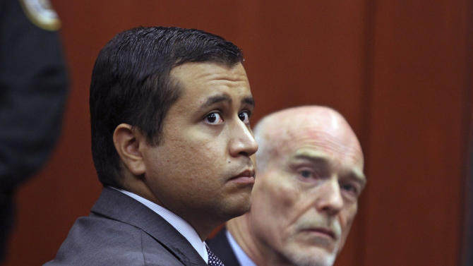 """FILE - In this June 29, 2012 file photo, George Zimmerman, left, and attorney Don West appear before Circuit Judge Kenneth R. Lester, Jr.  Friday, June 29, 2012, during a bond hearing at the Seminole County Criminal Justice Center in Sanford, Fla.   Zimmerman will try to have the murder charge dismissed under Florida's """"stand your ground"""" self-defense law, his attorney said Thursday, Aug. 9, 2012. Zimmerman  is charged with second-degree murder in the shooting of Trayvon Martin.(AP Photo/Orlando Sentinel, Joe Burbank, Pool)"""