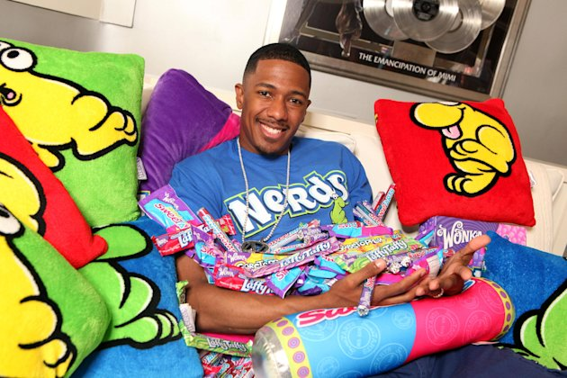 IMAGE DISTRIBUTED FOR WONKA – In this photo released on Tuesday, Oct. 23, 2012, Nick Cannon is seen in his Wonka Candy Room at home featuring SweeTARTS and NERDS in Los Angeles. (Photo by Casey Rodger