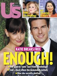 La portada de la revista US Weekly, en su edicin del 16 de julio del 2012, dedicada al divorcio de Katie Holmes y Tom Cruise. (AP Foto/US Weekly)