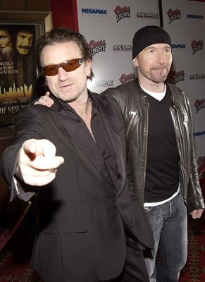 Bono and The Edge at the New York premiere of Miramax's Gangs of New York