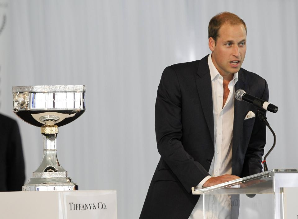 Prince William speaks at a charity polo match at the Santa Barbara Polo & Racquet Club in Carpinteria, Calif., on Saturday, July 9, 2011. The event is held in support of The American Friends of The Foundation of Prince William and Prince Harry. (AP Photo/Alex Gallardo, pool)
