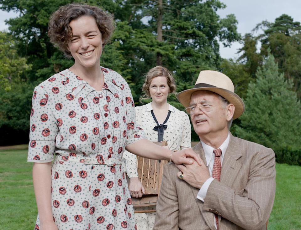 "This film image released by Focus Features shows, from left, Olivia Williams as Eleanor Roosevelt, Laura Linney as Daisy, and Bill Murray as Franklin D. Roosevelt in a scene from ""Hyde Park on Hudson."" (AP Photo/Focus Features, Nicola Dove)"