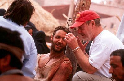 Russell Crowe and director Ridley Scott on the set of Dreamworks' Gladiator