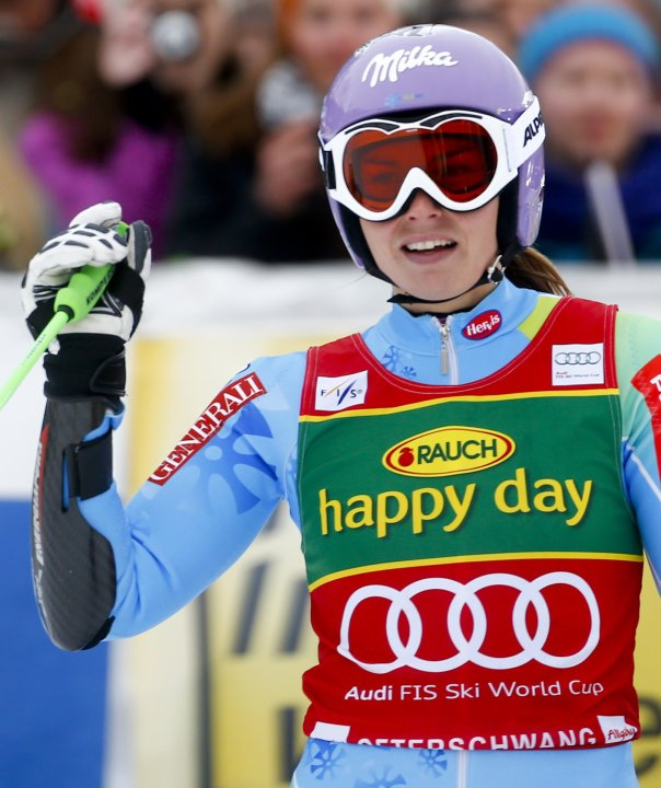 Maze of Slovenia reacts after placing second in the women's Alpine Skiing World Cup giant slalom race in Ofterschwang