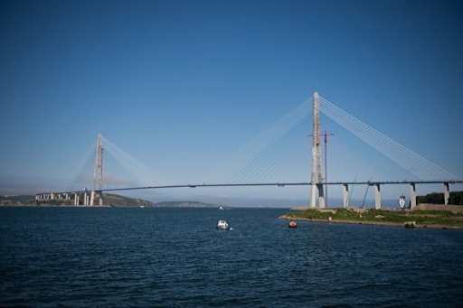 View of the world's longest cable-stayed suspension bridge, the Russky Island bridge, on June 26, 2012, in Vladivostok