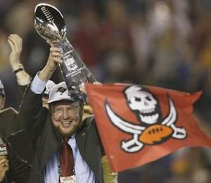 TAMPA BAY BUCCANEERS OWNER MALCOM GLAZER HOLDS VINCE LOMBARDI TROPHY IN SAN DIEGO.