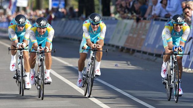 Team Astana Pro Team from Kazakhstan crosses the finish line during the men's team time trial at the UCI Road World Championships in Valkenburg (Reuters)