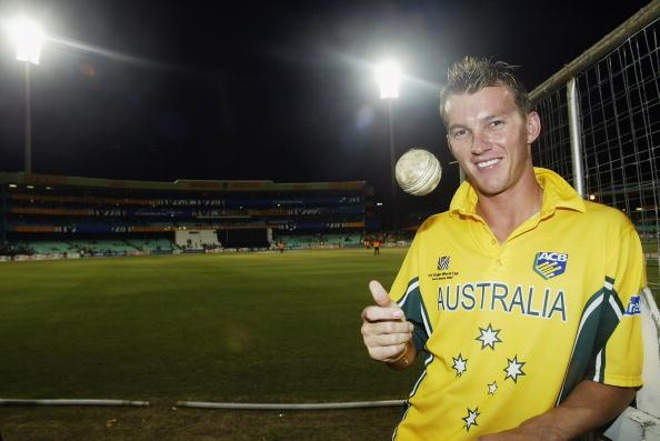 Brett Lee of Australia with the ball he took a hat trick with