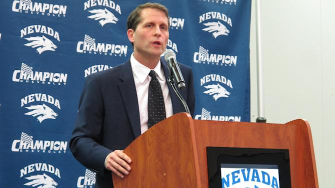 New Nevada basketball coach Eric Musselman addresses reporters at the Lawlor Events Center shortly after the state Board of Regents approved his 5-year contract worth $2 million, Thursday, March 26, 2015 in Reno, Nev.. The two-time former NBA coach says he plans a fast-moving, high-octane offense for a Wolf Pack team that will be trying to bounce back from three consecutive losing seasons. (AP Photo/Scott Sonner)