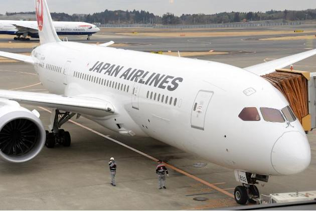 This file photo taken on January 15, 2014 shows a Japan Airlines (JAL) Boeing 787 Dreamliner leaving the gate at Narita international airport in Chiba prefecture, suburban Tokyo
