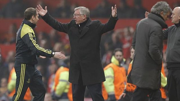 Manchester United's manager Alex Ferguson reacts after Luis Nani was sent off during their Champions League soccer match against Real Madrid at Old Trafford stadium in Manchester, March 5, 2013. (Reuters)