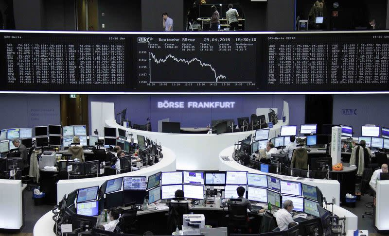 German data lead Europe shares higher, dollar steadies