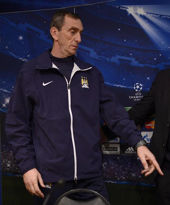 Manchester City's assistant manager Ruben Cousillas attends a news conference at the Camp Nou Stadium in Barcelona, Spain, Tuesday, March 11, 2014. FC Barcelona will play against Manchester City i