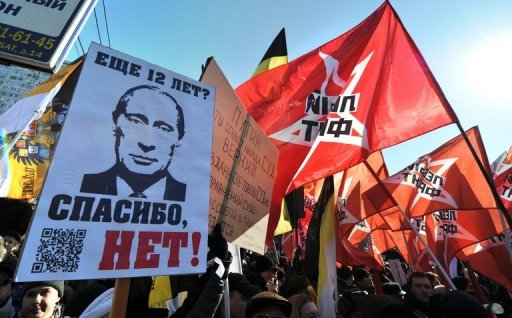 <p>Russian protesters take part in anti-Putin rally in the Arbat district of Moscow on March 10. More than 100,000 protesters on Tuesday joined a march against President Vladimir Putin in Moscow, organiser and radical left-wing activist Sergei Udaltsov has told AFP.</p>