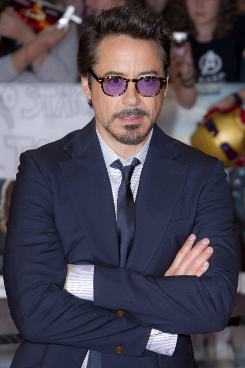 "FILE - In this April 19, 2012 file photo, actor Robert Downey Jr arrives for the European Premiere of ""The Avengers,"" in London. Downey attended a fundraiser for President Barack Obama on Thursday, Ma"