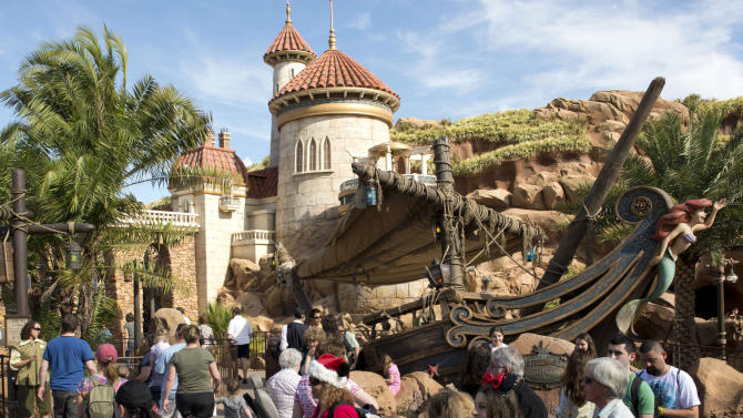 "This image released by Disney shows people at the Under the Sea: Journey of the Little Mermaid attraction, inspired by Disney's animated film ""The Little Mermaid,"" following the grand opening of New Fantasyland at Walt Disney World Resort in Lake Buena Vista, Fla. New Fantasyland, the largest expansion project in the park's 41-year history which doubled the size of the original Fantasyland, features attractions, dining, shopping, and character interactions. (AP Photo/Disney, David Roark)"
