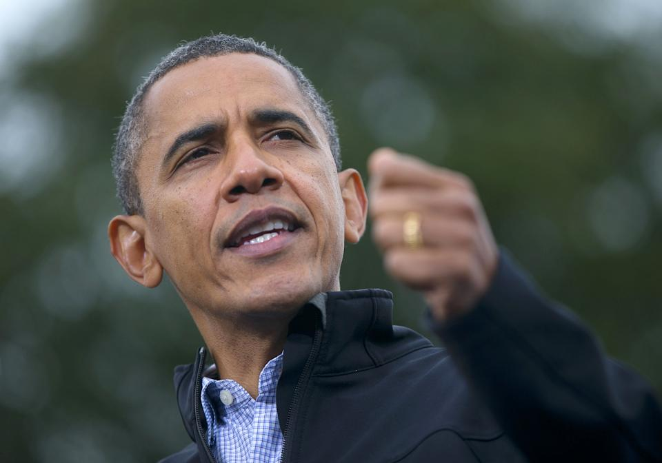 President Barack Obama speaks during a campaign event at Sloan's Lake Park, Thursday, Oct. 4, 2012, in Denver. (AP Photo/Pablo Martinez Monsivais)