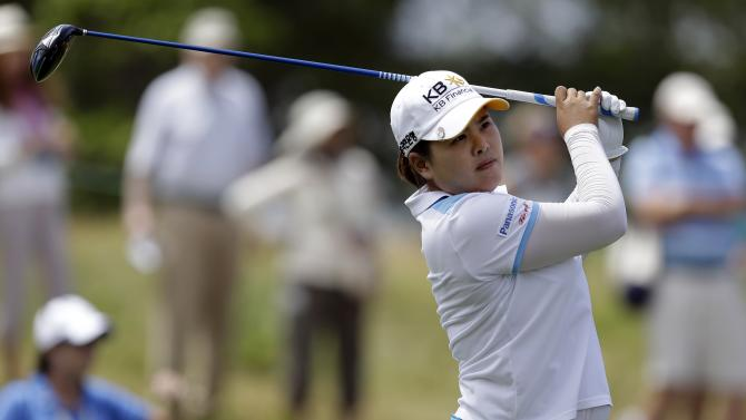 Inbee Park, of South Korea, tees off on the second hole during the second round of the U.S. Women's Open golf tournament at the Sebonack Golf Club Friday, June 28, 2013, in Southampton, N.Y. (AP Photo/Frank Franklin II)
