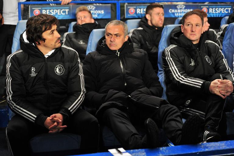 Chelsea's manager Jose Mourinho (C), seen before their UEFA Champions League Group E match against Steaua Bucharest, at Stamford Bridge in London, on December 11, 2013