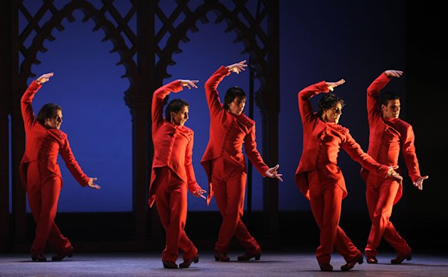 This undated publicity image released by Helene Davis PR shows Ballet Flamenco de Andalucia during a performance. The troupe is performing through March 9 at New York City Center. (AP Photo/Helene Dav