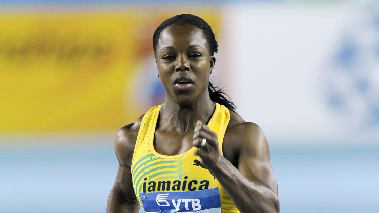 Jamaica's Veronica Campbell-Brown runs in her Women's 60 m heat during the World Indoor Athletics Championships in Istanbul, Turkey, Saturday, March 10, 2012. (AP Photo/Martin Meissner)