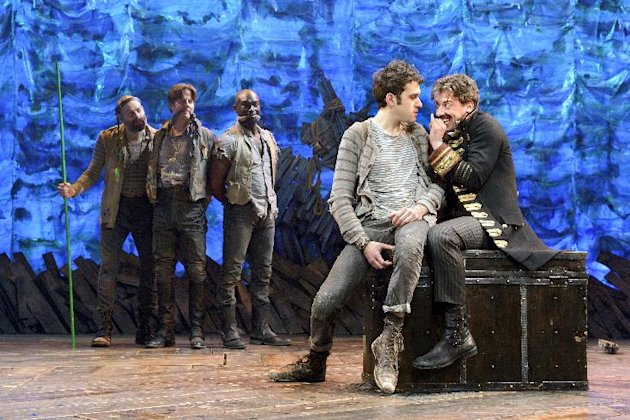 "In this theater image released by The O & M Co., from left,  Matt D'Amico, Rick Holmes, Isaiah Johnson, Adam Chanler-Berat, and Christian Borle are shown in a scene from ""Peter and the Starcatcher,"" p"