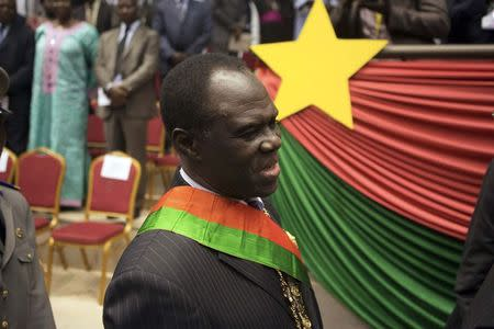 Burkina Faso's President Michel Kafondo is seen after being sworn into his post for the transitional period of one year, in Ouagadougou