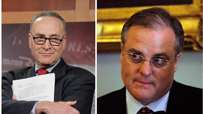 FILE - Sens. Charles Schumer of New York, left and Mark Pryor of Arkansas said Sunday Jan. 29, 2012 that federal funding in a pending transportation funding bill be used for research and to train police in identifying drugged drivers, who don't show the same outward signs of intoxication as drunken drivers do, such as slurred speech.