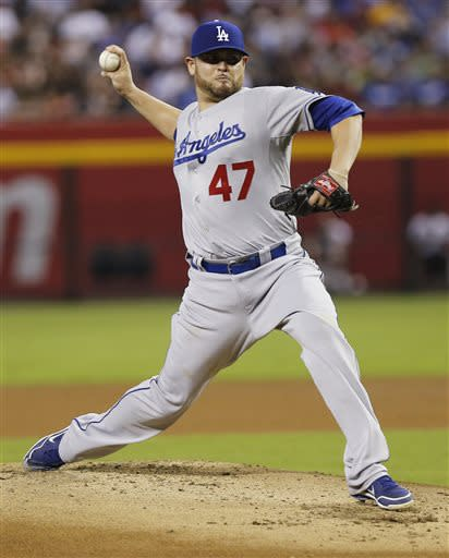 Nolasco beats Diamondbacks in Dodgers debut, 6-1