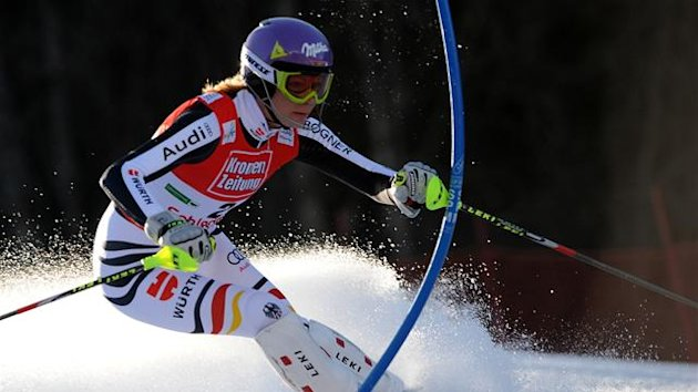 Maria Hoefl Riesch of Germany competes during the women's first run of Alpine skiing World Cup slalom final in Schladming on March 17, 2012.