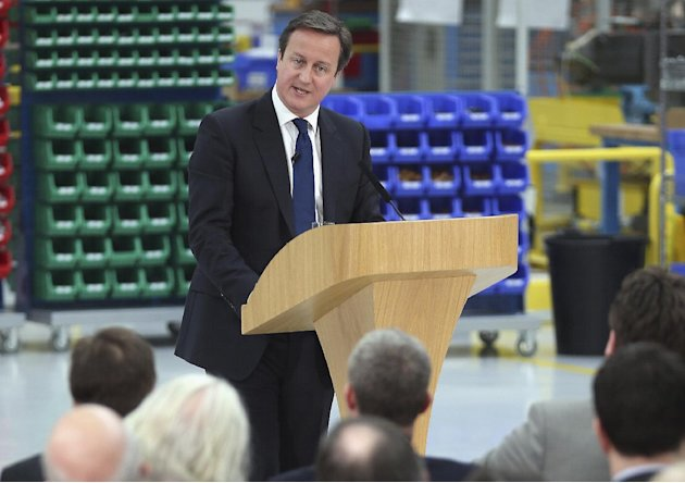 Britain's Prime Minister David Cameron delivers his speech on the economy during a visit to precision grinding engineering company Kinetic Landis, in Keighley, England, Thursday March 7, 2013.  Camero