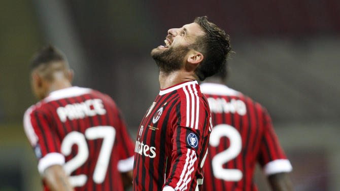 AC Milan midfielder Antonio Nocerino celebrates after scoring during a Serie A soccer match between AC Milan and Parma at the San Siro stadium in Milan, Italy, Wednesday, Oct. 26, 2011. (AP Photo/Antonio Calanni)