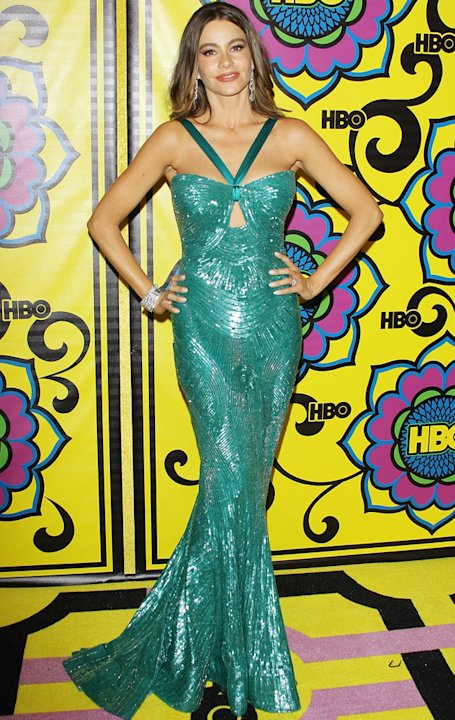 Emmys 2012: Sophia Vergara goes for the mermaid look in a turquoise fishtail frock.