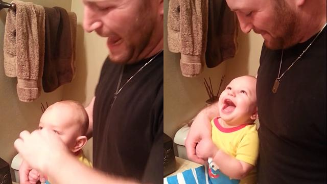 This Baby Biting His Dad Then Laughing Uncontrollably Is the New 'Charlie Bit Me'