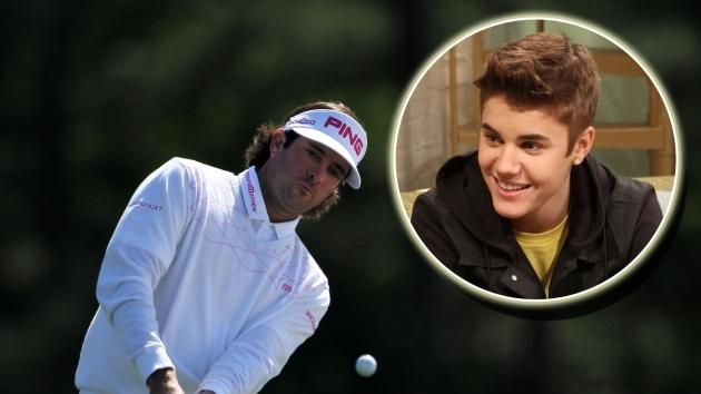Bubba Watson hits a shot at the Masters tournament on April 8, 2012 (Inset: Justin Bieber on Access Hollywood Live) -- Access Hollywood / Getty Images
