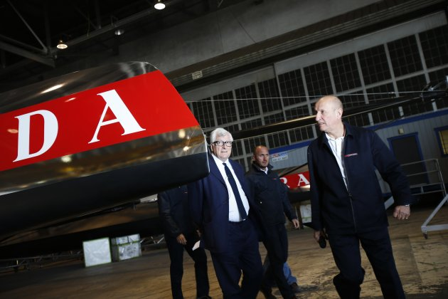 Bertelli, owner of America's Cup challenger team Luna Rossa Challenge, enters a news conference in Alameda