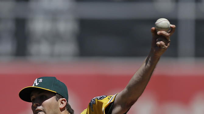 Oakland Athletics pitcher Drew Pomeranz works against the Houston Astros in the first inning of a baseball game Sunday, April 26, 2015, in Oakland, Calif. (AP Photo/Ben Margot)