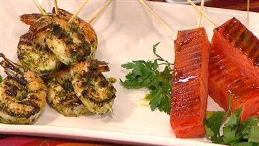 Summer Cooking: Shrimp Skewers, Grilled Melon