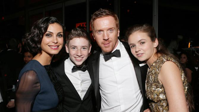 From left, actors Morena Baccarin, Jackson Pace, Damian Lewis and Morgan Saylor attend the Fox Golden Globes Party on Sunday, January 13, 2013, in Beverly Hills, Calif. (Photo by Todd Williamson/Invision for Fox Searchlight/AP Images)
