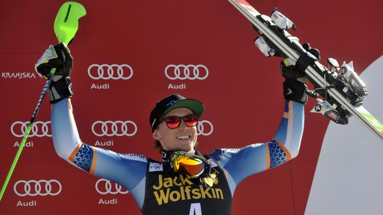 Third placed Henrik Kristoffersen of Norway reacts after the Alpine Skiing World Cup men's slalom ski race in Kranjska Gora