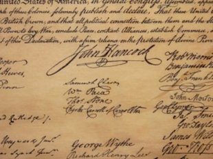 The story behind John Hancock's signature on the Declaration of Independence. (Thinkstock)