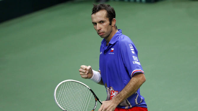 Czech Republic's Radek Stepanek reacts after winning a point against Spain's Nicolas Almagro during their Davis Cup finals tennis singles match in Prague, Czech Republic, Sunday, Nov. 18, 2012. (AP Photo/ Marko Drobnjakovic)