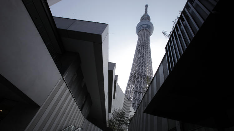 The Tokyo Sky Tree soars in Tokyo Tuesday, April 17, 2012. The world's tallest freestanding broadcast structure that stands 634-meter (2,080-foot) will open to the public in May. (AP Photo/Itsuo Inouye)