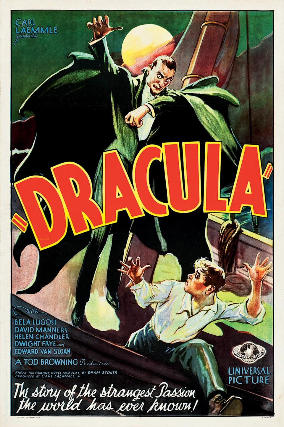 "This February 2012 photo provided by Heritage Auctions in Dallas shows a movie poster for the 1931 poster for ""Dracula"" starring Bela Lugosi. This and other rare classic movie theater posters found in a northeastern Pennsylvania attic are scheduled to go to auction March 23. (AP Photo/Heritage Auctions)"