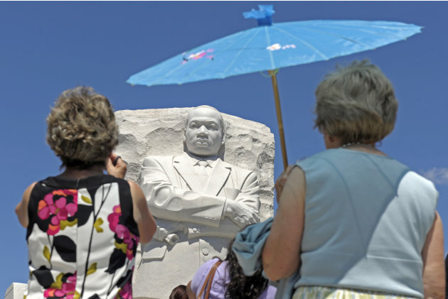 People view the new Martin Luther King, Jr., Memorial in Washington, Monday, Aug. 22, 2011. (AP Photo/Susan Walsh)