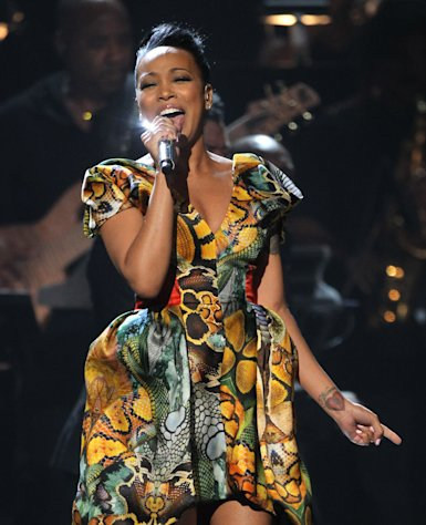 Monica performs during the in memoriam for Whitney Houston at the BET Awards on Sunday, July 1, 2012, in Los Angeles. (Photo by Matt Sayles/Invision/AP)